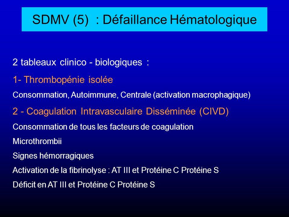 SDMV (5) : Défaillance Hématologique 2 tableaux clinico - biologiques : 1- Thrombopénie isolée Consommation, Autoimmune, Centrale (activation macropha
