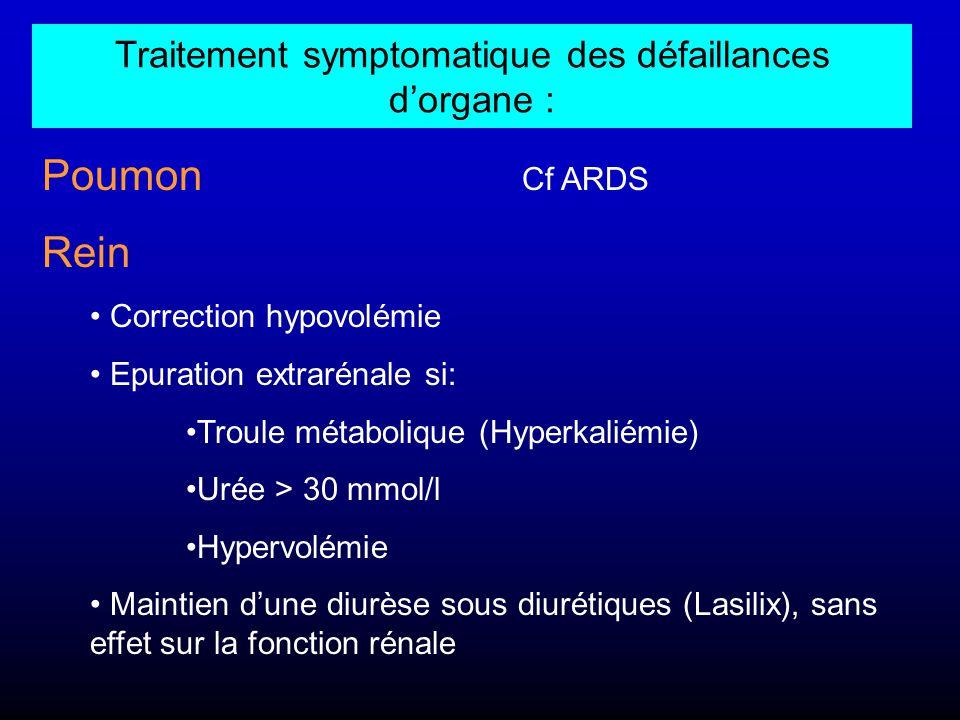 Traitement symptomatique des défaillances d'organe : Poumon Cf ARDS Rein Correction hypovolémie Epuration extrarénale si: Troule métabolique (Hyperkal