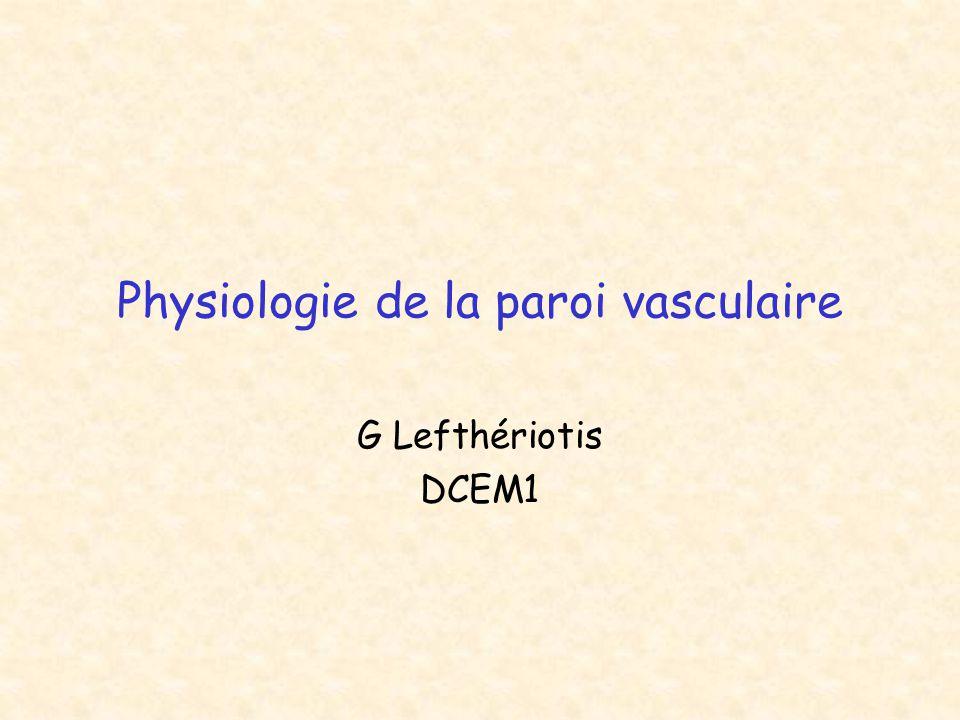 Physiologie de la paroi vasculaire G Lefthériotis DCEM1