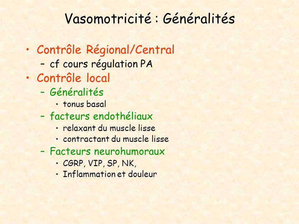 Vasomotricité : Généralités Contrôle Régional/Central –cf cours régulation PA Contrôle local –Généralités tonus basal –facteurs endothéliaux relaxant