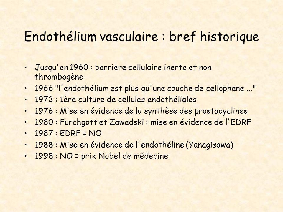 Endothélium vasculaire : bref historique Jusqu'en 1960 : barrière cellulaire inerte et non thrombogène 1966