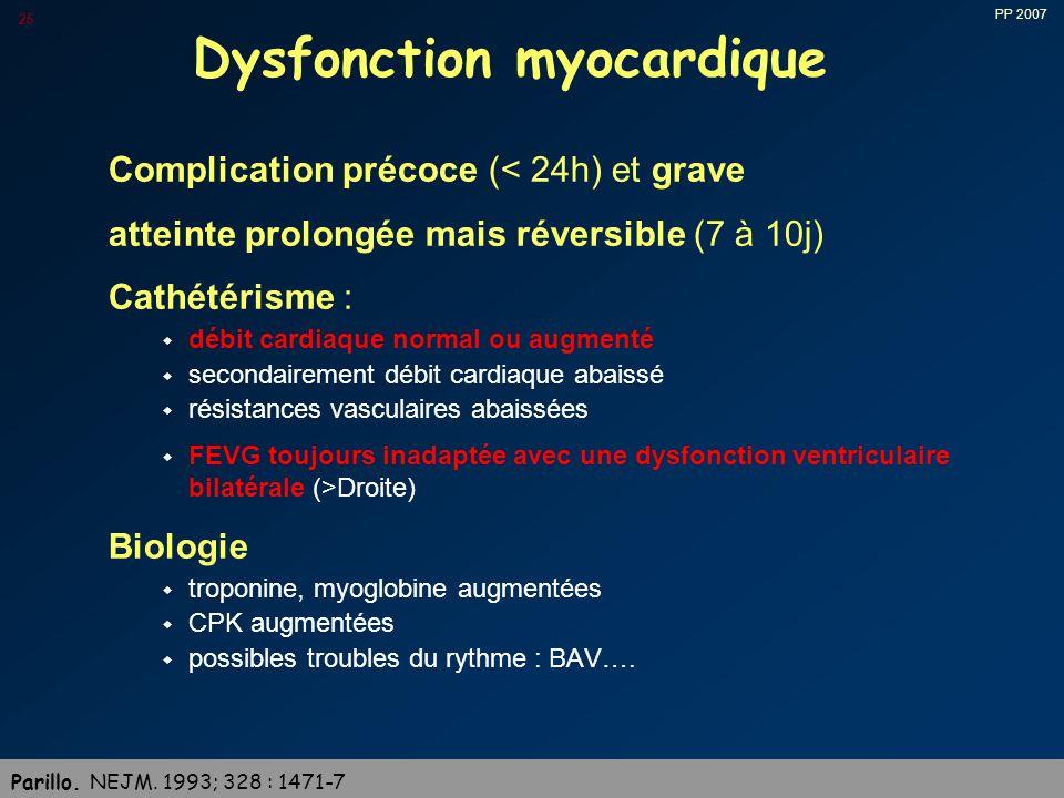 PP 2007 25 Dysfonction myocardique Complication précoce (< 24h) et grave atteinte prolongée mais réversible (7 à 10j) Cathétérisme : w débit cardiaque normal ou augmenté w secondairement débit cardiaque abaissé w résistances vasculaires abaissées w FEVG toujours inadaptée avec une dysfonction ventriculaire bilatérale (>Droite) Biologie w troponine, myoglobine augmentées w CPK augmentées w possibles troubles du rythme : BAV….