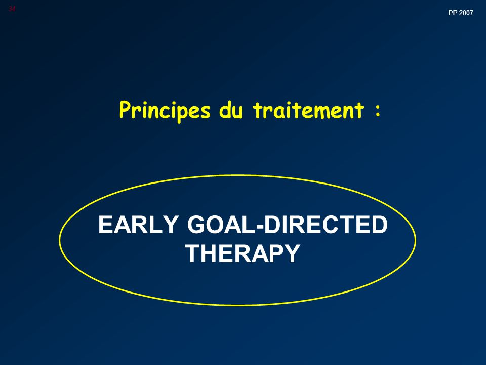 PP 2007 34 Principes du traitement : EARLY GOAL-DIRECTED THERAPY