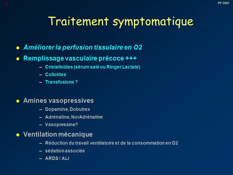 PP 2007 35 Traitement symptomatique l Améliorer la perfusion tissulaire en O2 l Remplissage vasculaire précoce +++ –Cristalloïdes (sérum salé ou Ringer Lactate) –Colloïdes –Transfusions .