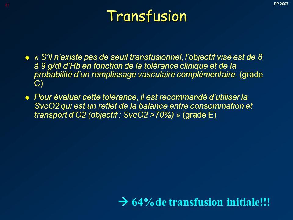 PP 2007 47 Transfusion l « S'il n'existe pas de seuil transfusionnel, l'objectif visé est de 8 à 9 g/dl d'Hb en fonction de la tolérance clinique et de la probabilité d'un remplissage vasculaire complémentaire.