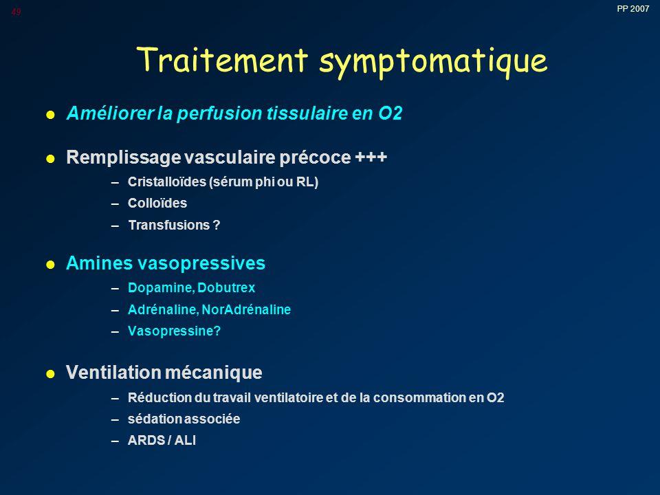 PP 2007 49 Traitement symptomatique l Améliorer la perfusion tissulaire en O2 l Remplissage vasculaire précoce +++ –Cristalloïdes (sérum phi ou RL) –Colloïdes –Transfusions .