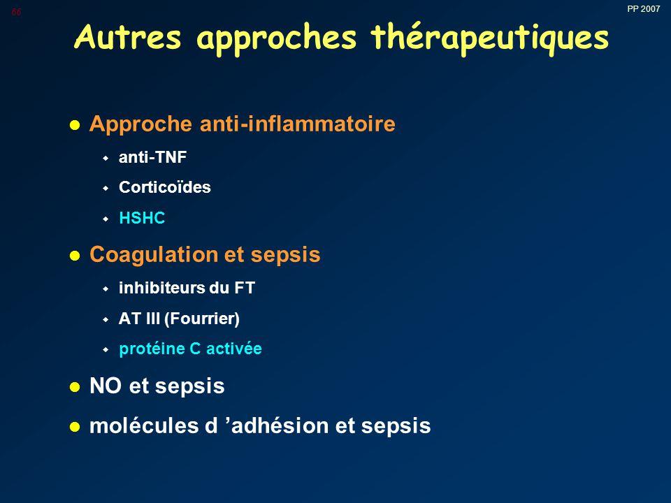PP 2007 66 Autres approches thérapeutiques l Approche anti-inflammatoire w anti-TNF w Corticoïdes w HSHC l Coagulation et sepsis w inhibiteurs du FT w AT III (Fourrier) w protéine C activée l NO et sepsis l molécules d 'adhésion et sepsis