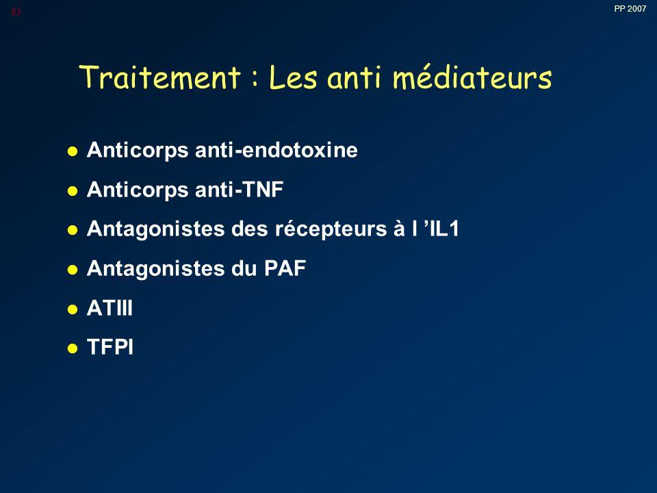 PP 2007 83 Traitement : Les anti médiateurs l Anticorps anti-endotoxine l Anticorps anti-TNF l Antagonistes des récepteurs à l 'IL1 l Antagonistes du PAF l ATIII l TFPI