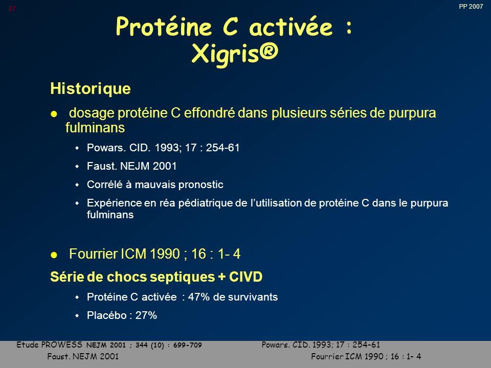 PP 2007 87 Protéine C activée : Xigris® Historique l dosage protéine C effondré dans plusieurs séries de purpura fulminans w Powars.