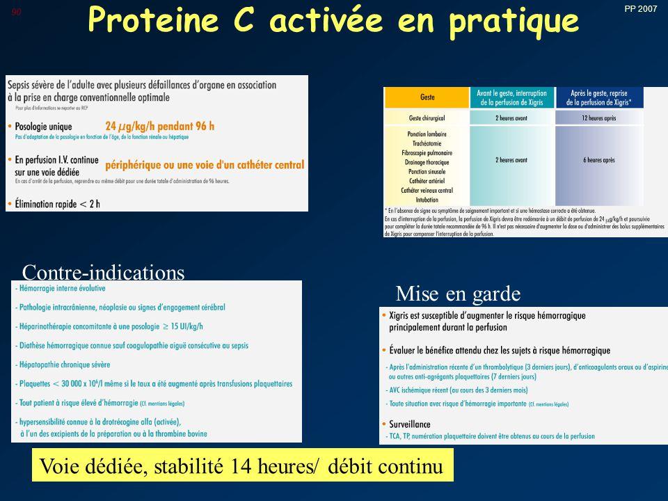 PP 2007 90 Proteine C activée en pratique Contre-indications Mise en garde Voie dédiée, stabilité 14 heures/ débit continu