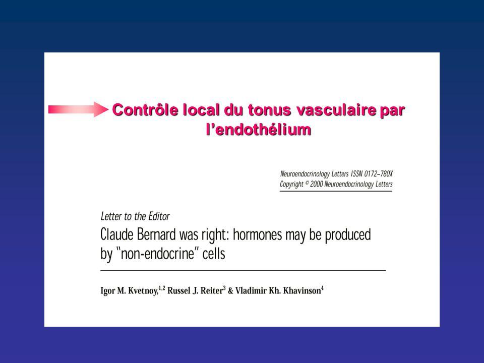 Contrôle local du tonus vasculaire par l'endothélium
