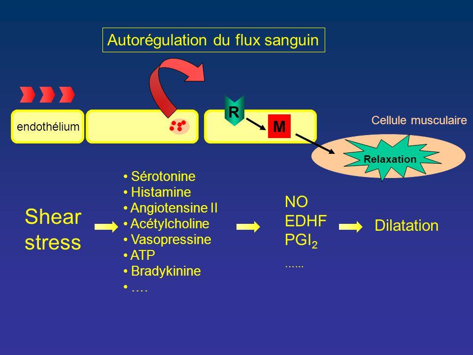 Autorégulation du flux sanguin Shear stress Sérotonine Histamine Angiotensine II Acétylcholine Vasopressine ATP Bradykinine …. NO EDHF PGI 2 …... R Di