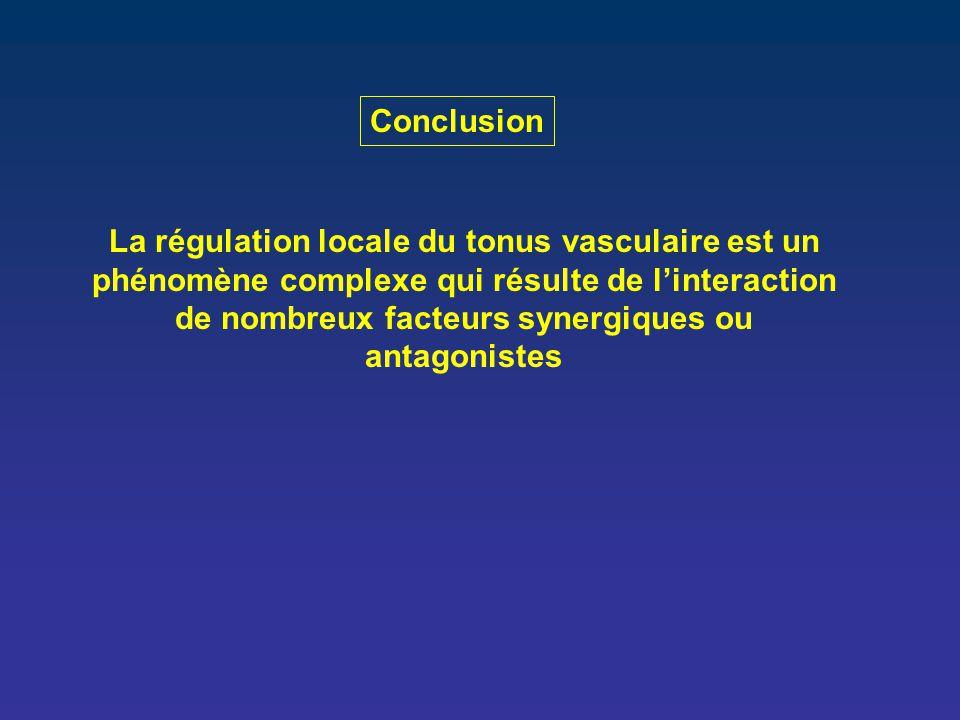 Conclusion La régulation locale du tonus vasculaire est un phénomène complexe qui résulte de l'interaction de nombreux facteurs synergiques ou antagon