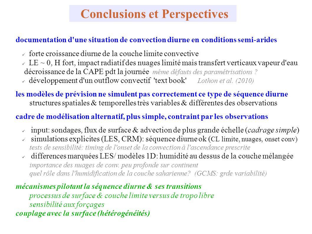 Conclusions et Perspectives documentation d'une situation de convection diurne en conditions semi-arides forte croissance diurne de la couche limite c