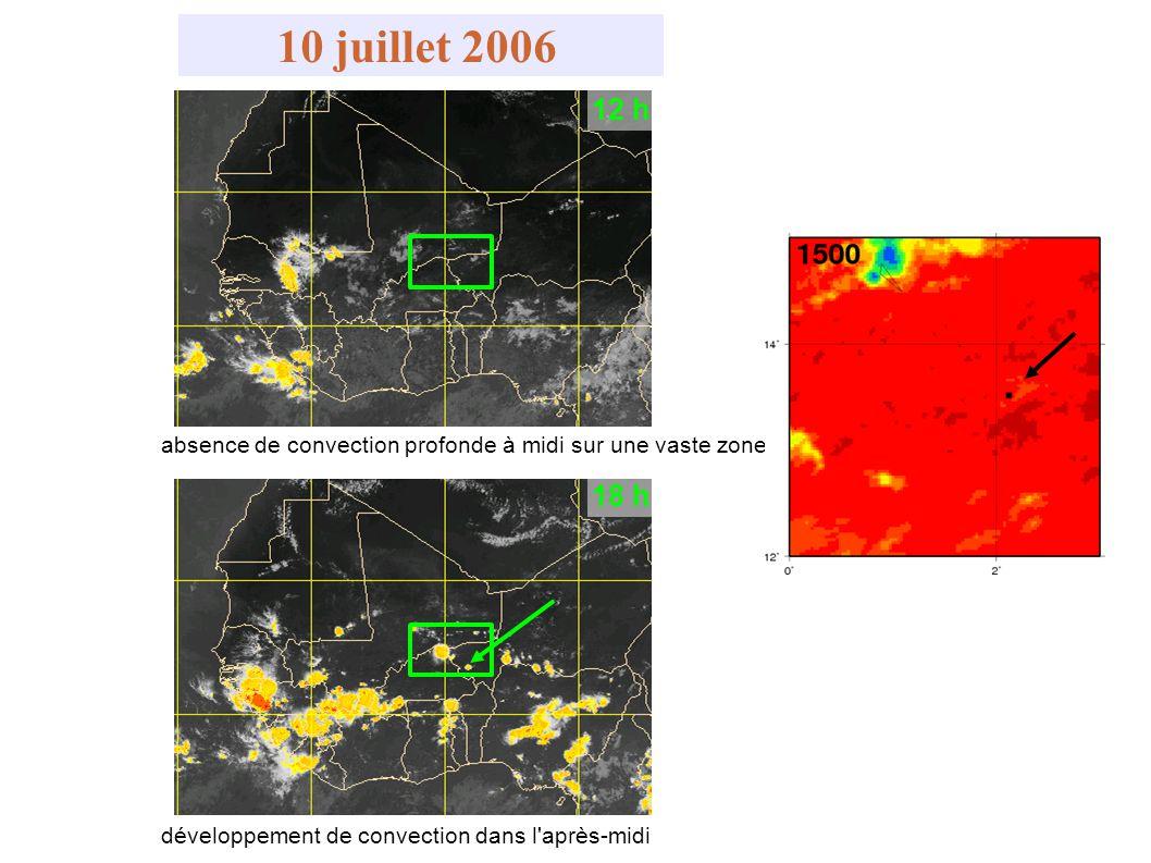 absence de convection profonde à midi sur une vaste zone 12 h 18 h développement de convection dans l'après-midi 10 juillet 2006