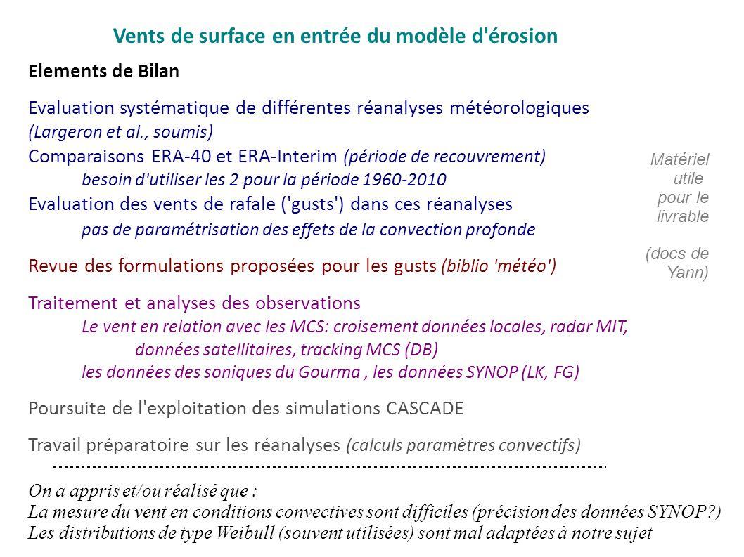 Vents de surface en entrée du modèle d érosion Elements de Bilan Evaluation systématique de différentes réanalyses météorologiques (Largeron et al., soumis) Comparaisons ERA-40 et ERA-Interim (période de recouvrement) besoin d utiliser les 2 pour la période 1960-2010 Evaluation des vents de rafale ( gusts ) dans ces réanalyses pas de paramétrisation des effets de la convection profonde Revue des formulations proposées pour les gusts (biblio météo ) Traitement et analyses des observations Le vent en relation avec les MCS: croisement données locales, radar MIT, données satellitaires, tracking MCS (DB) les données des soniques du Gourma, les données SYNOP (LK, FG) Poursuite de l exploitation des simulations CASCADE Travail préparatoire sur les réanalyses (calculs paramètres convectifs) On a appris et/ou réalisé que : La mesure du vent en conditions convectives sont difficiles (précision des données SYNOP?) Les distributions de type Weibull (souvent utilisées) sont mal adaptées à notre sujet Matériel utile pour le livrable (docs de Yann)