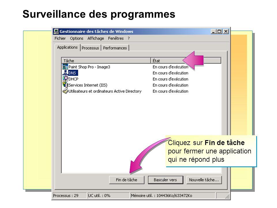 Cliquez sur Fin de tâche pour fermer une application qui ne répond plus Surveillance des programmes