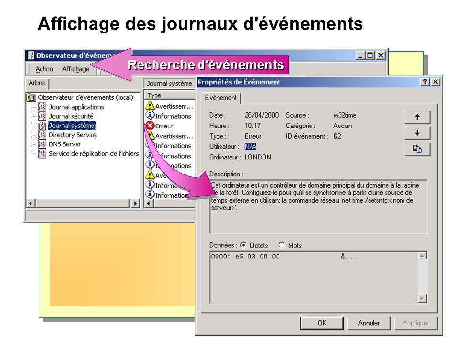 Limitation de la taille des fichiers journaux Action à mettre en œuvre lorsque la limite est atteinte Action à mettre en œuvre lorsque la limite est atteinte Taille limite