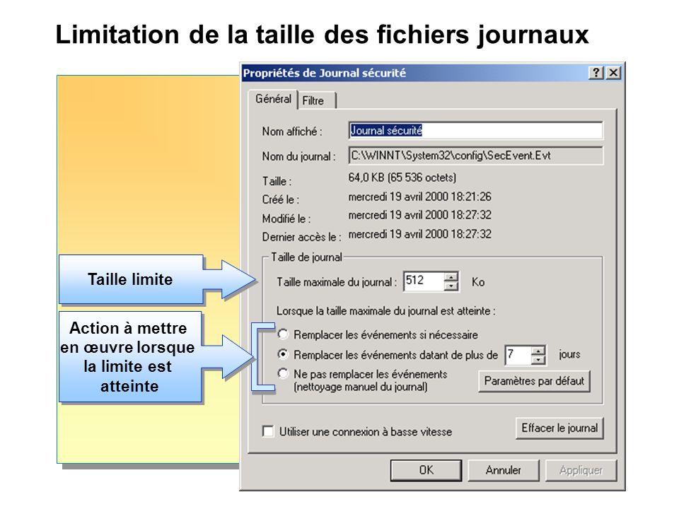 Limitation de la taille des fichiers journaux Action à mettre en œuvre lorsque la limite est atteinte Action à mettre en œuvre lorsque la limite est a