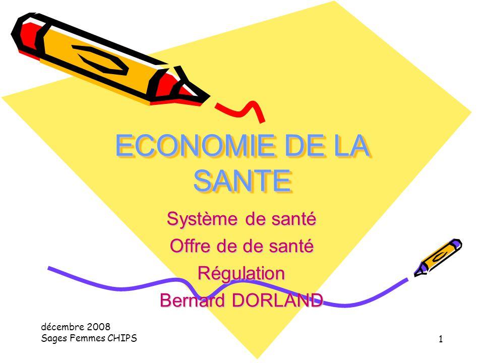 décembre 2008 Sages Femmes CHIPS 1 ECONOMIE DE LA SANTE Système de santé Offre de de santé Régulation Bernard DORLAND