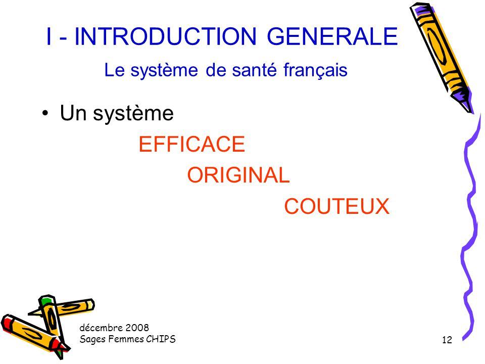 décembre 2008 Sages Femmes CHIPS 11 I - INTRODUCTION GENERALE La France en quelques chiffres 58 millions d'habitants 551 000 Km2 Part de la richesse n