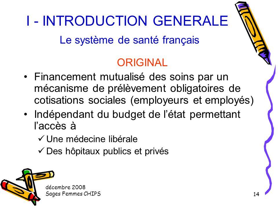 décembre 2008 Sages Femmes CHIPS 13 I - INTRODUCTION GENERALE Le système de santé français EFFICACE Indicateur de l'état de santé Espérance de vie Hom