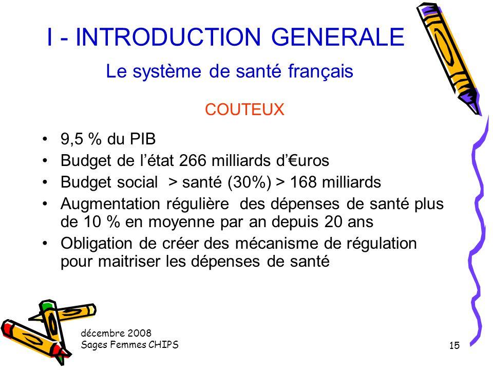 décembre 2008 Sages Femmes CHIPS 14 I - INTRODUCTION GENERALE Le système de santé français ORIGINAL Financement mutualisé des soins par un mécanisme d