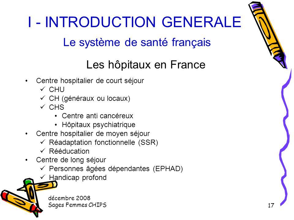 décembre 2008 Sages Femmes CHIPS 16 I - INTRODUCTION GENERALE Le système de santé français Les hôpitaux en France Ils représentent une capacité de 471