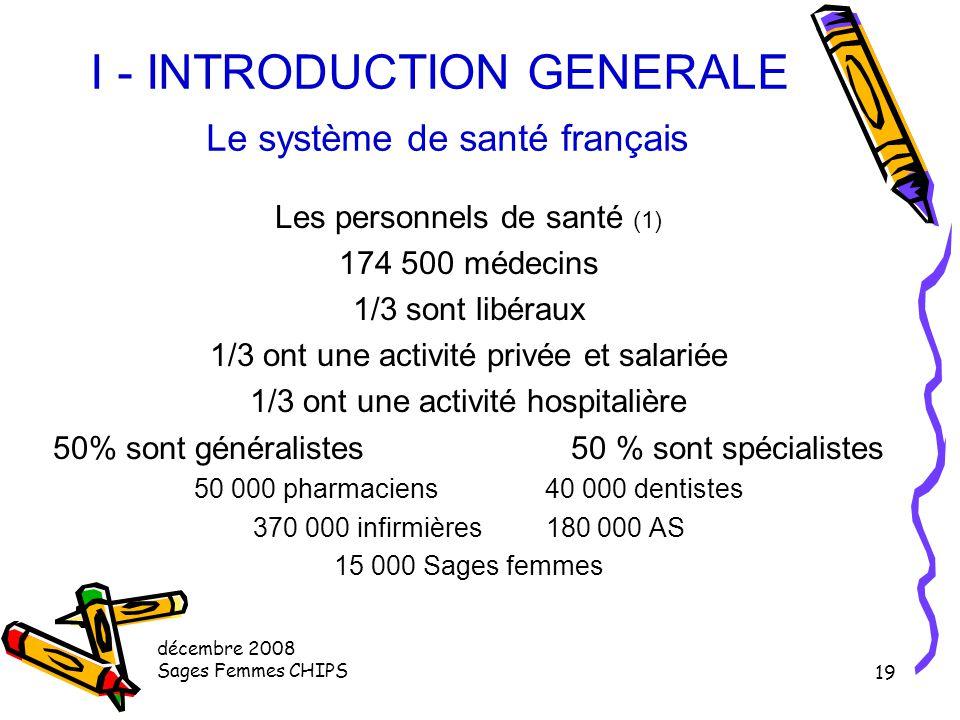 décembre 2008 Sages Femmes CHIPS 18 I - INTRODUCTION GENERALE Le système de santé français Les personnels de santé 7,4 % de la population active (1,8