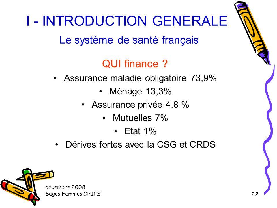 décembre 2008 Sages Femmes CHIPS 21 I - INTRODUCTION GENERALE Le système de santé français Les personnels de santé en formation Nombre de paramédicaux