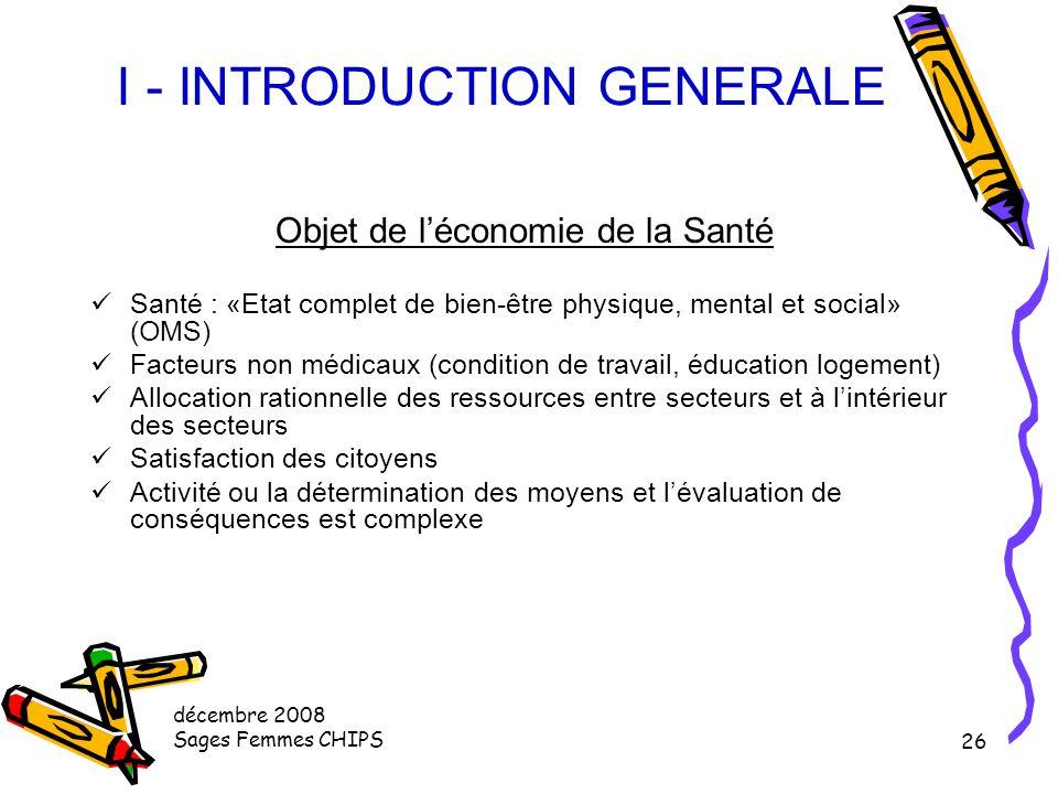 décembre 2008 Sages Femmes CHIPS 25 I - INTRODUCTION GENERALE Le système de santé français Rôle de l'Etat Le parlement décide du budget > PLFSS Décent