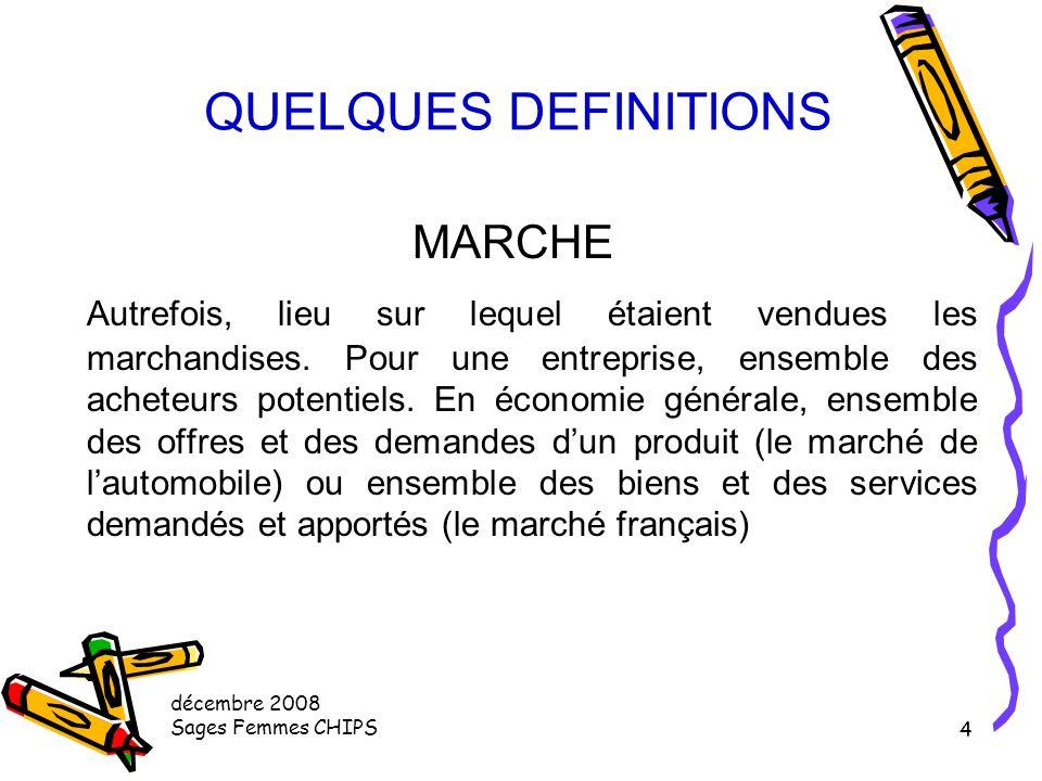décembre 2008 Sages Femmes CHIPS 4 QUELQUES DEFINITIONS MARCHE Autrefois, lieu sur lequel étaient vendues les marchandises.