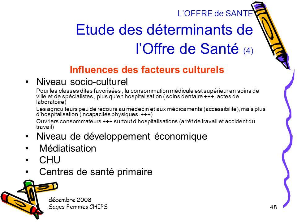décembre 2008 Sages Femmes CHIPS 47 L'OFFRE de SANTE Etude des déterminants de l'Offre de Santé (3) Influences des facteurs démographiques Implantatio