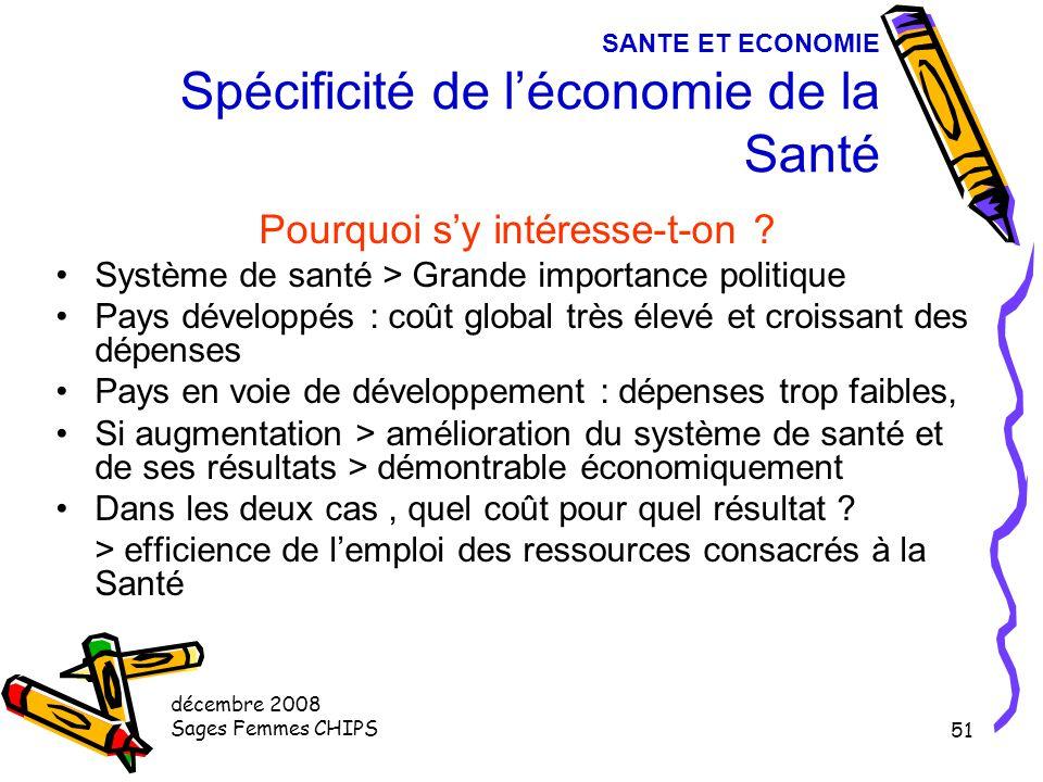 décembre 2008 Sages Femmes CHIPS 50 III - SANTE ET ECONOMIE Spécificité de l'économie de la Santé Données Macroéconomique Facteurs de la consommation