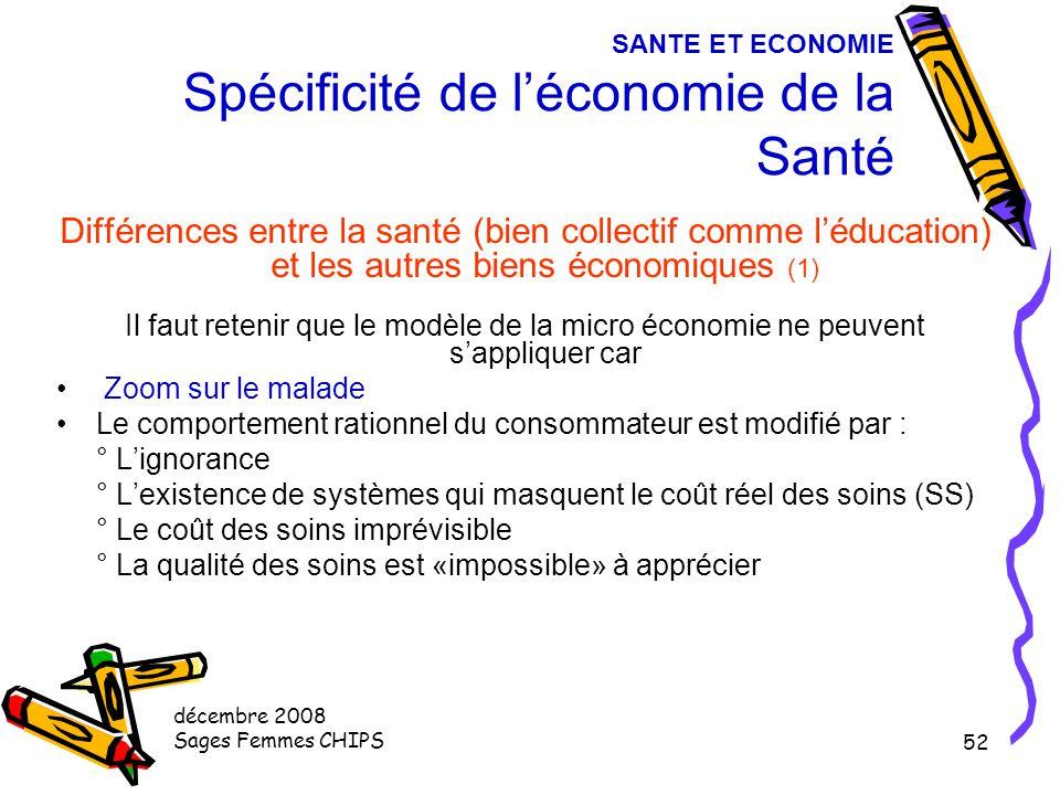 décembre 2008 Sages Femmes CHIPS 51 SANTE ET ECONOMIE Spécificité de l'économie de la Santé Pourquoi s'y intéresse-t-on ? Système de santé > Grande im