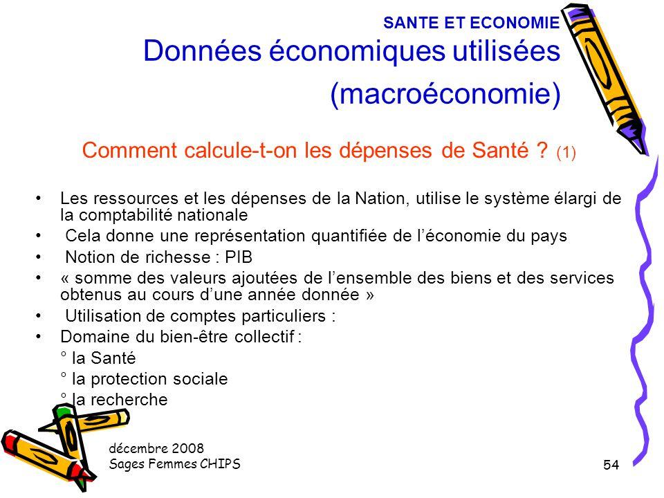 décembre 2008 Sages Femmes CHIPS 53 SANTE ET ECONOMIE Spécificité de l'économie de la Santé Différences entre la santé (bien collectif comme l'éducati