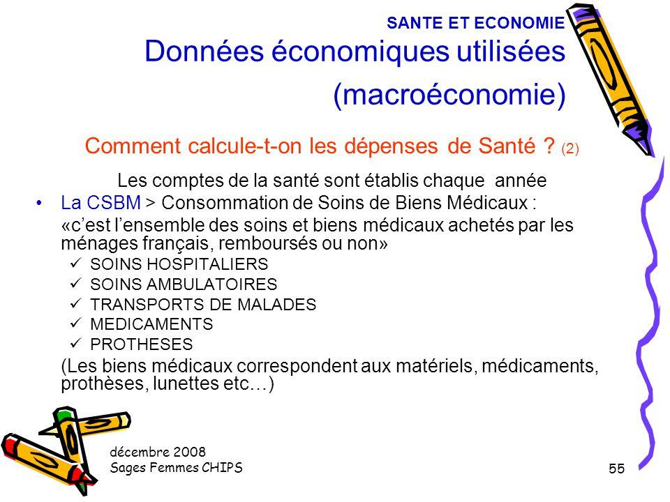 décembre 2008 Sages Femmes CHIPS 54 SANTE ET ECONOMIE Données économiques utilisées (macroéconomie) Comment calcule-t-on les dépenses de Santé ? (1) L