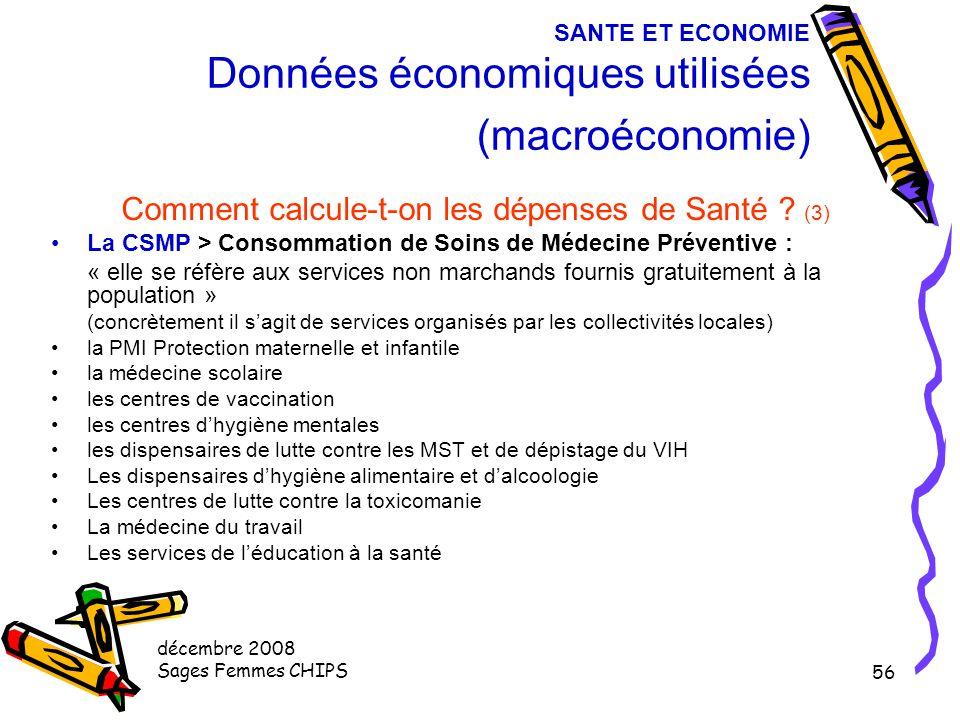 décembre 2008 Sages Femmes CHIPS 55 SANTE ET ECONOMIE Données économiques utilisées (macroéconomie) Comment calcule-t-on les dépenses de Santé ? (2) L