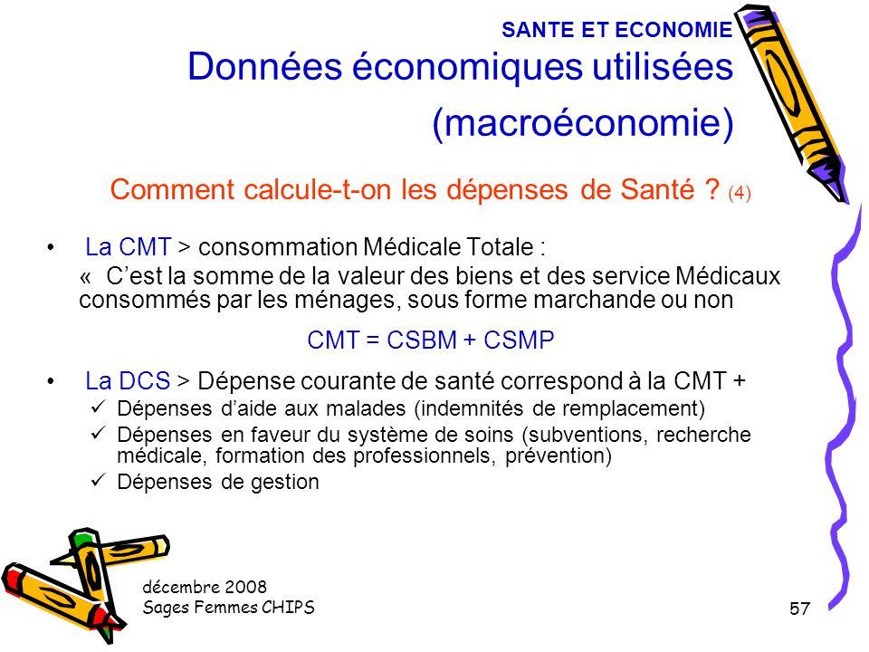 décembre 2008 Sages Femmes CHIPS 56 SANTE ET ECONOMIE Données économiques utilisées (macroéconomie) Comment calcule-t-on les dépenses de Santé ? (3) L