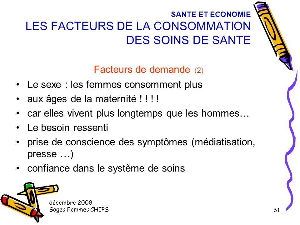 décembre 2008 Sages Femmes CHIPS 60 SANTE ET ECONOMIE LES FACTEURS DE LA CONSOMMATION DES SOINS DE SANTE Facteurs de demande (1) Influence +++ caracté