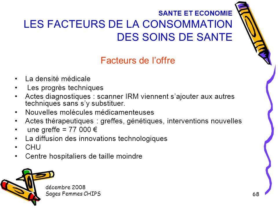 décembre 2008 Sages Femmes CHIPS 67 SANTE ET ECONOMIE LES FACTEURS DE LA CONSOMMATION DES SOINS DE SANTE Facteurs de demande (8) des pathologies nouve
