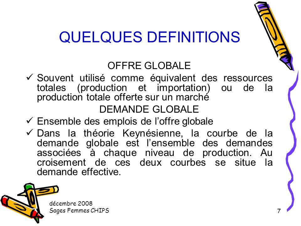 décembre 2008 Sages Femmes CHIPS 6 QUELQUES DEFINITIONS Autres services Marchands Location et crédit bail immobilier, organismes financiers et assuran