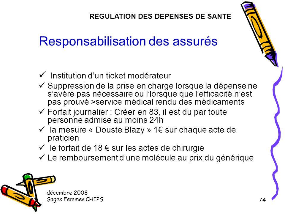 décembre 2008 Sages Femmes CHIPS 73 IV - LES PRINCIPES DE LA REGULATION DES DEPENSES DE SANTE Responsabilisation des assurés La régulation par le cont