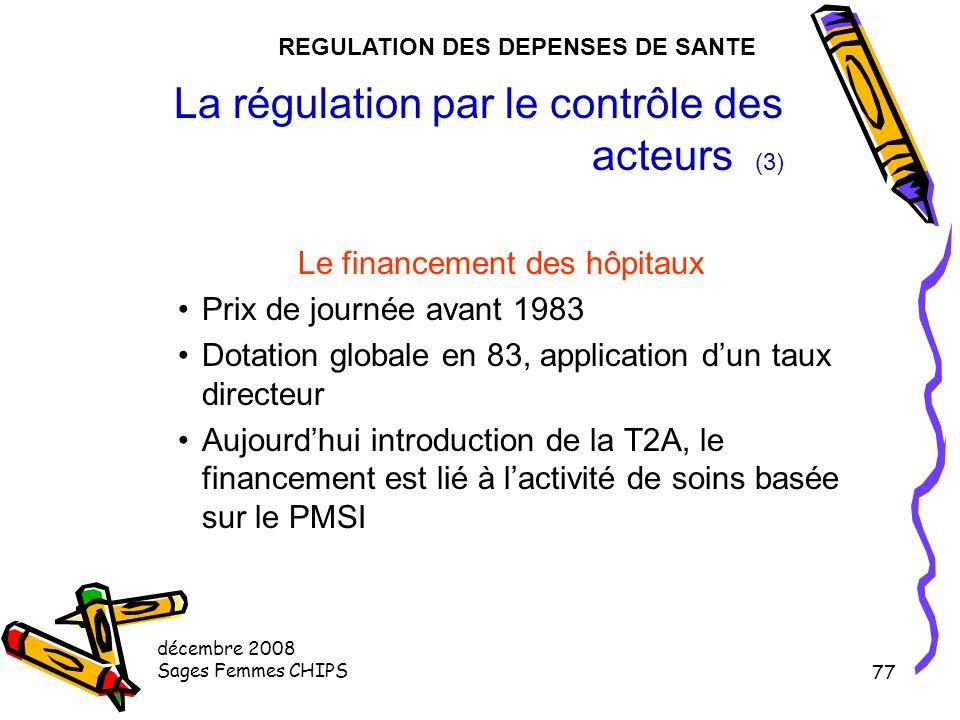 décembre 2008 Sages Femmes CHIPS 76 La régulation par le contrôle des acteurs (2) Régulation de la prise en charge des patients par les médecins libér