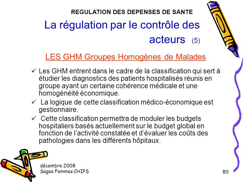 décembre 2008 Sages Femmes CHIPS 79 La régulation par le contrôle des acteurs (4) LE PMSI 1ère expérimentation en 1985, 1er souhait de généralisation