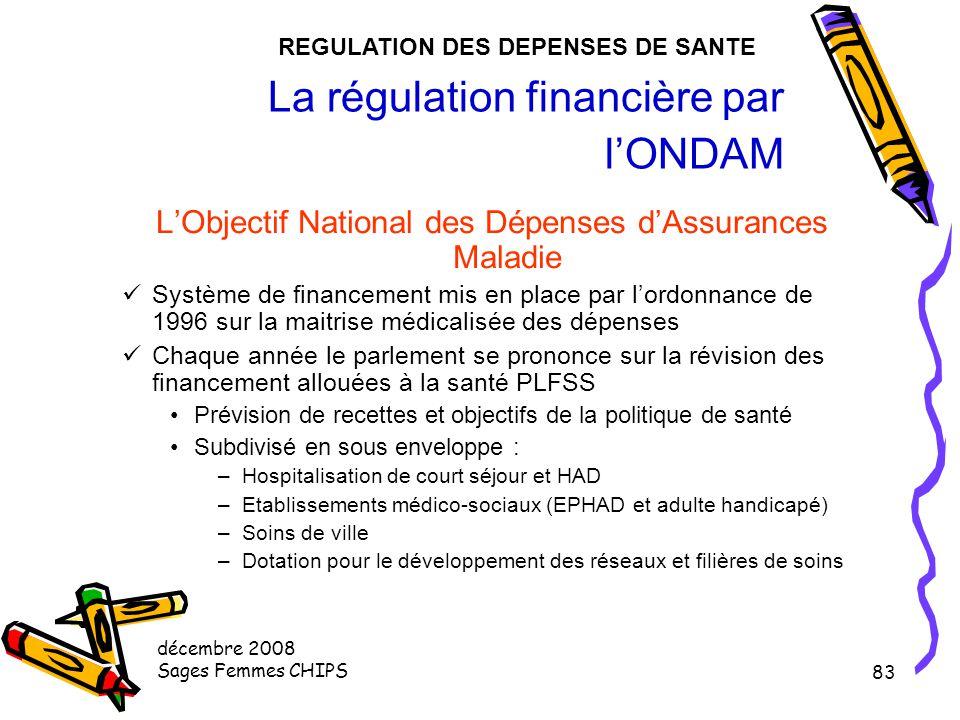 décembre 2008 Sages Femmes CHIPS 82 La régulation par le contrôle des acteurs (7) L'ARH Mise en place en 1997 suite aux ordonnances d'avril 1996 C'est