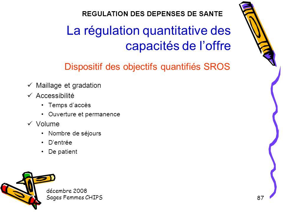 décembre 2008 Sages Femmes CHIPS 86 La régulation des capacités de l'offre Nouvelle régulation de l'offre de soins La réforme de la planification Ordo