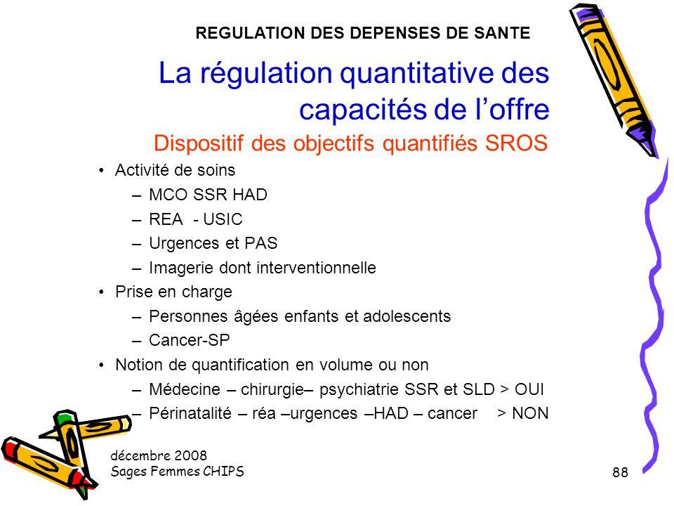 décembre 2008 Sages Femmes CHIPS 87 La régulation quantitative des capacités de l'offre Dispositif des objectifs quantifiés SROS Maillage et gradation