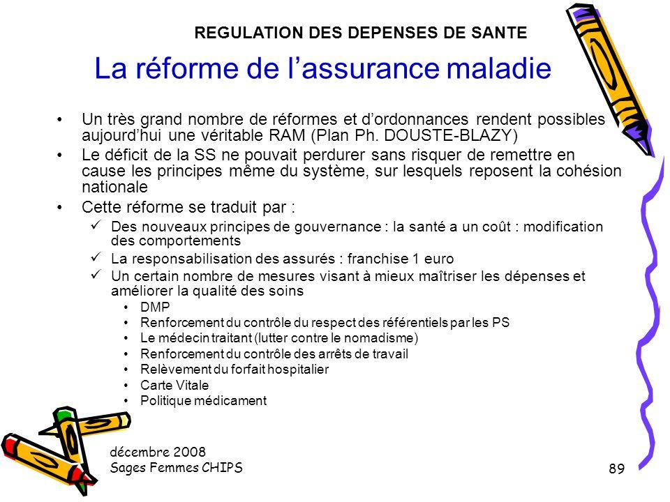 décembre 2008 Sages Femmes CHIPS 88 La régulation quantitative des capacités de l'offre Dispositif des objectifs quantifiés SROS Activité de soins –MC
