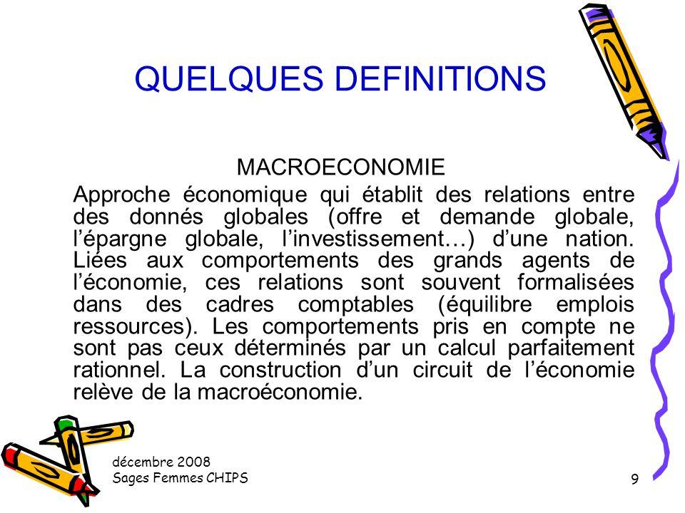 décembre 2008 Sages Femmes CHIPS 59 SANTE ET ECONOMIE Données économiques utilisées (macroéconomie) Les Chiffres à retenir (2) CMT représente 147 milliards d' €uros La Dépense Courante de Santé DCS environ 168 Milliards d'€ (154 en 2002) CMT + Aide aux malades Subventions Enseignement recherche Prévention collective Gestion 2 732€ / habitant > 9,5% du PIB le système préventif est peu développé en France les facteurs de consommation permettent de prévoir une augmentation des dépenses de santé